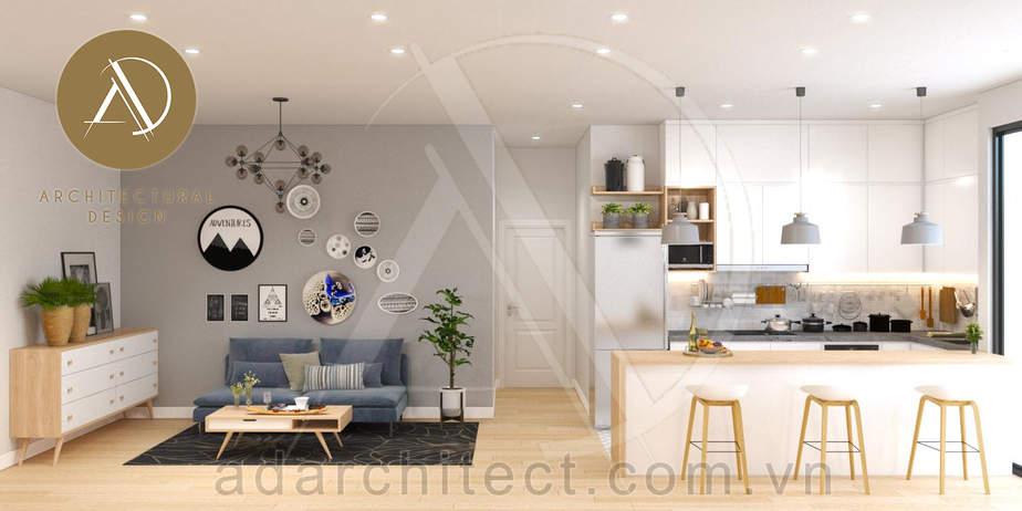 Công ty thiết kế kiến trúc ADA: Phối cảnh nội thất vintage của không gian phòng khách & nhà bếp của căn hộ 1 phòng ngủ