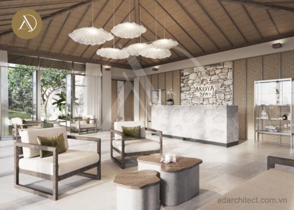Thiết kế spa chuyên nghiệp: Khu vực tiếp tân với không gian mở tràn ngập ánh sáng tự nhiên