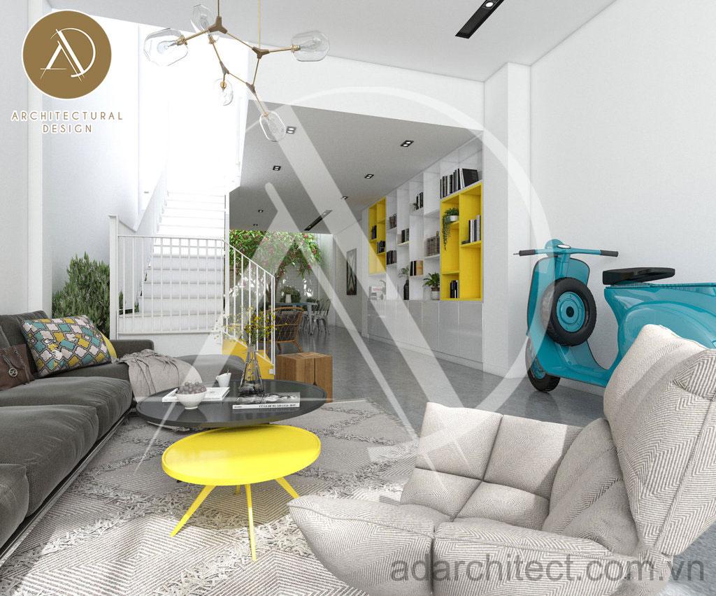 Thiết kế nhà phố hiện đại: nội thất phòng khách