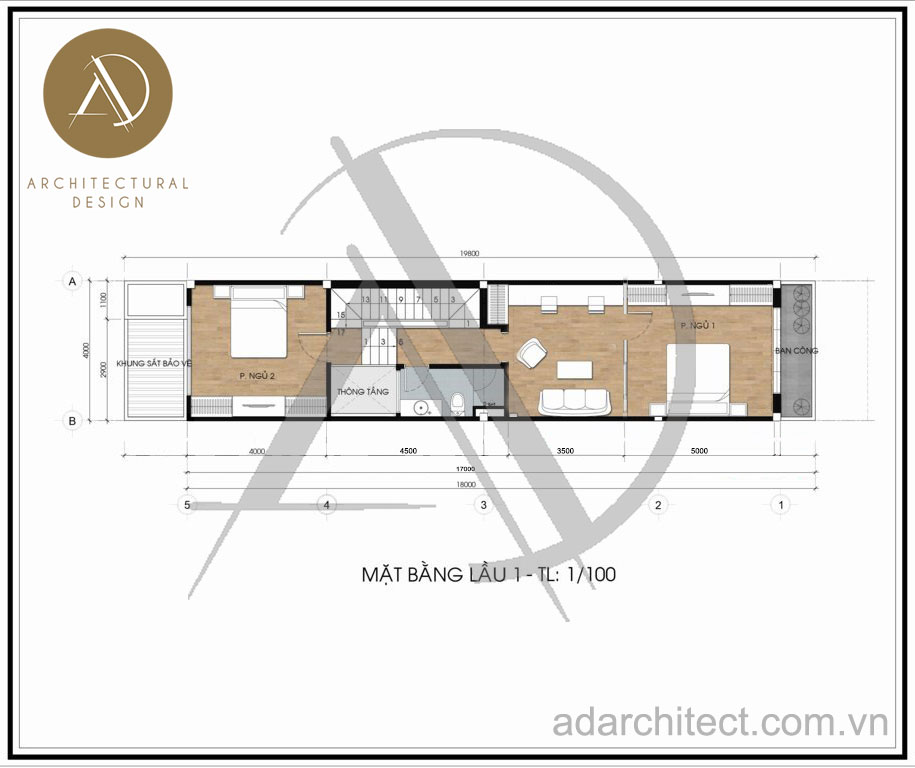 Thiết kế nhà phố hiện đại: Mặt bằng lầu 1