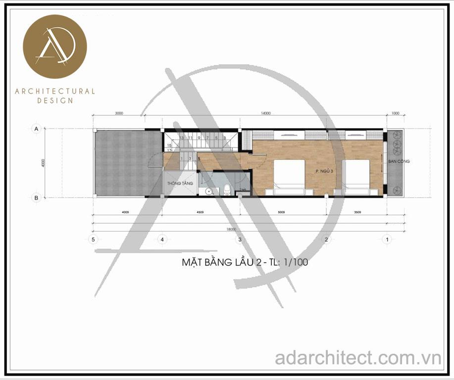 Thiết kế nhà phố hiện đại: Mặt bằng lầu 2
