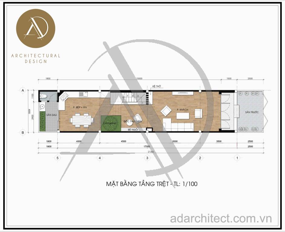 Thiết kế nhà phố hiện đại: Mặt bằng tầng trệt