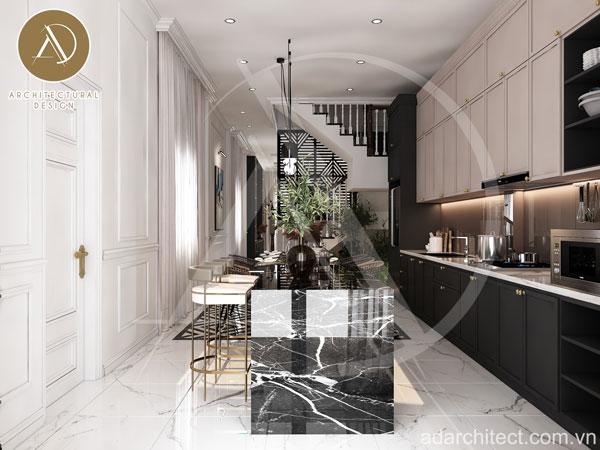 không gian bếp đẹp cho nhà ống